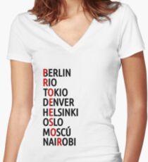 La Casa de Papel Names of Cities Women's Fitted V-Neck T-Shirt