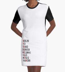 La Casa de Papel Names of Cities Graphic T-Shirt Dress