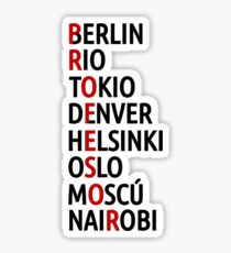 La Casa de Papel Names of Cities Sticker