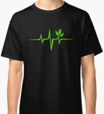 Heartbeat, Pulse Green, Vegan, Frequency, Wave, Earth, Planet Classic T-Shirt