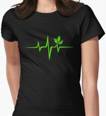 Heartbeat, Pulse Green, Vegan, Frequency, Wave, Earth, Planet Women's Fitted T-Shirt