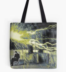Nikola Tesla Sitting In His Experimental Station Reimagined 2 Tote Bag