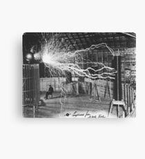 Nikola Tesla Sitting In His Experimental Station Reimagined 1 Canvas Print