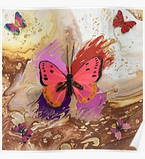 Cream Butterfly Poster