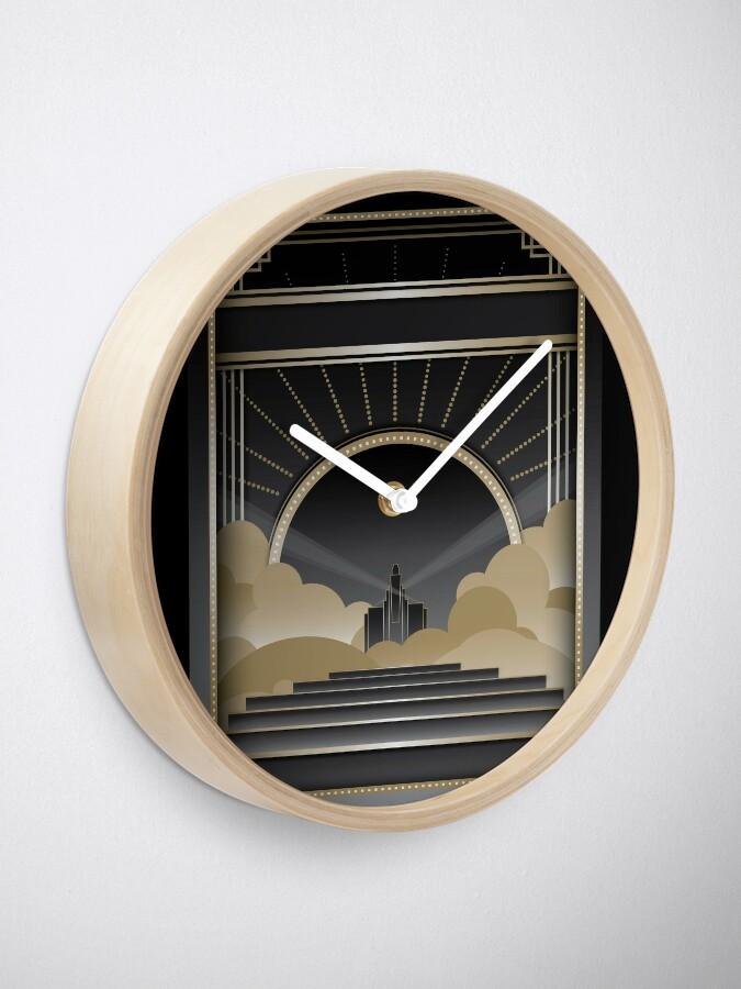 Alternate view of Art deco design V Clock