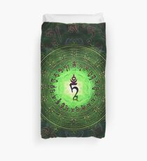 Green Tara Mantra- Protection from dangers and suffering. Duvet Cover