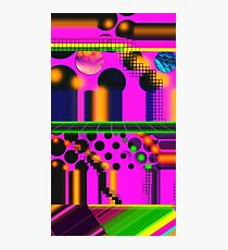 Neon Hot Pink 80s Vaporwave Technotropolis Photographic Print