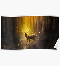 Epic Flaming Stag Poster