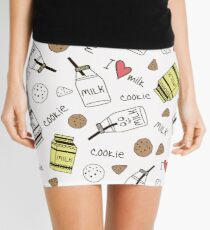 Pattern with cute milk bottle character and cookies Mini Skirt