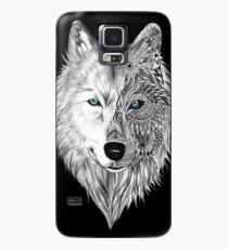 Der weiße Wolf Mandala - Schwarz Hülle & Klebefolie für Samsung Galaxy