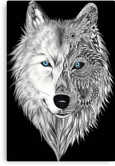 Der Weiße Wolf Mandala Schwarz Leinwanddruck Von Whitewolf86