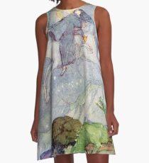 St George und der Drache - Vintage Illustration Anne Anderson A-Linien Kleid