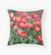Pretty Red Tulips Throw Pillow