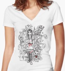 wonderland shattered Women's Fitted V-Neck T-Shirt