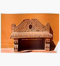 Red Stone Bench Poster