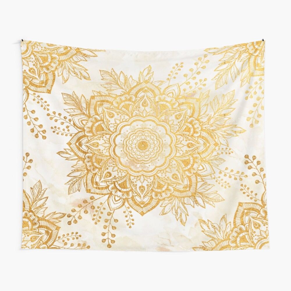 Queen Starring of Mandala-Gold Sunflower Wall Tapestry