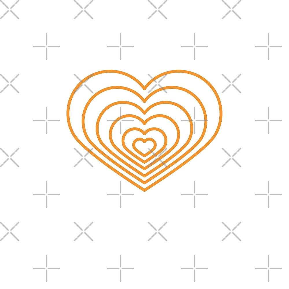 «Forma de corazón multi naranja» de Jodie Andrews