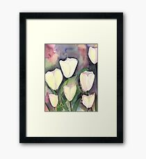 White Tulips at Night Framed Print