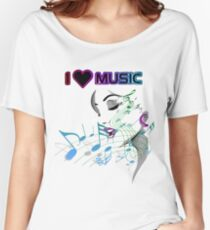 LADY LOVES LOVES MUSIC Women's Relaxed Fit T-Shirt