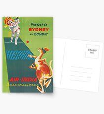 Sydney, Australia, Kangaroo, Cricket, Vintage Travel Poster Postcards