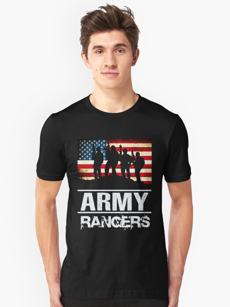 Us Army Rangers Silhouette American Flag Military T Shirt By