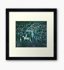 Magical landscape mushroom forest with Pegasus - Elenore Abbott vintage illustration Framed Print