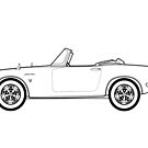 Honda S800 Outline Drawing by RJWautographics