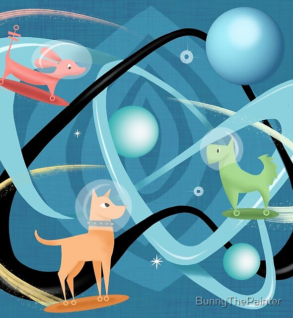 Atomic Rocket Powered Space Dogs by BunnyThePainter