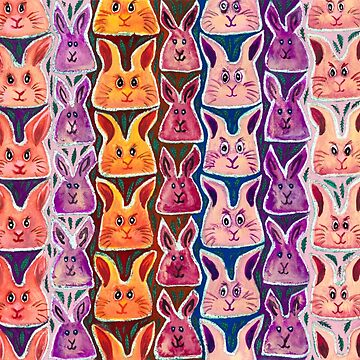 Colourful Watercolour Bunny Rabbits by WaterGardens