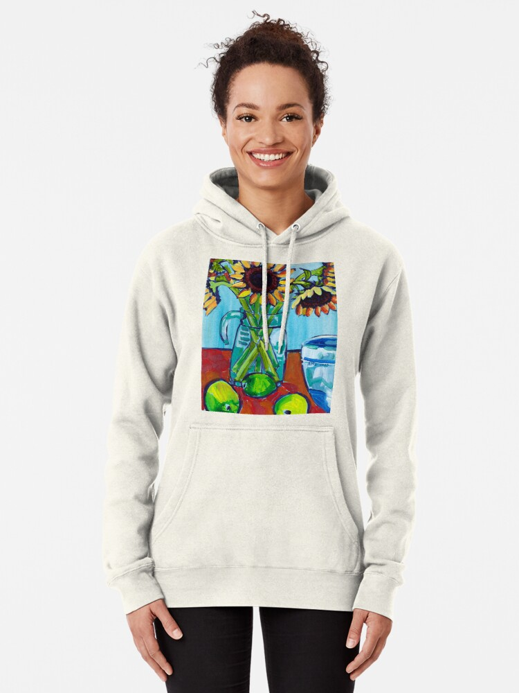 Alternate view of Sunflowers and Limes Pullover Hoodie
