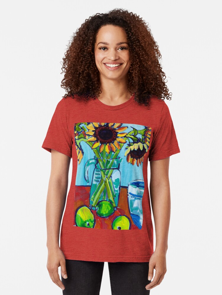Alternate view of Sunflowers and Limes Tri-blend T-Shirt