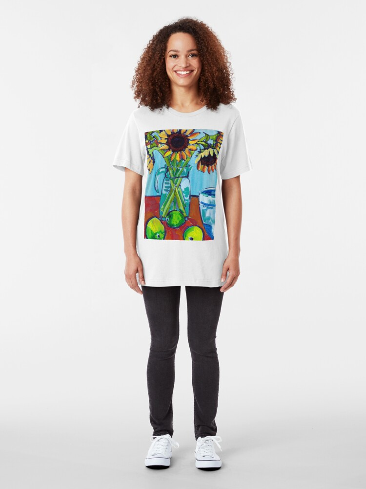 Alternate view of Sunflowers and Limes Slim Fit T-Shirt