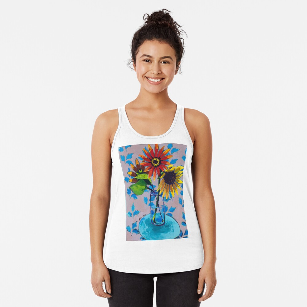 Sunflower with Purple and Blue Racerback Tank Top