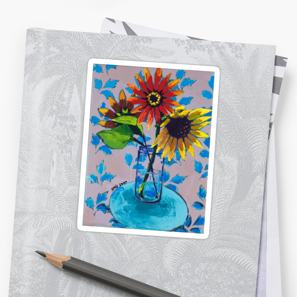 Sunflower with Purple and Blue Sticker