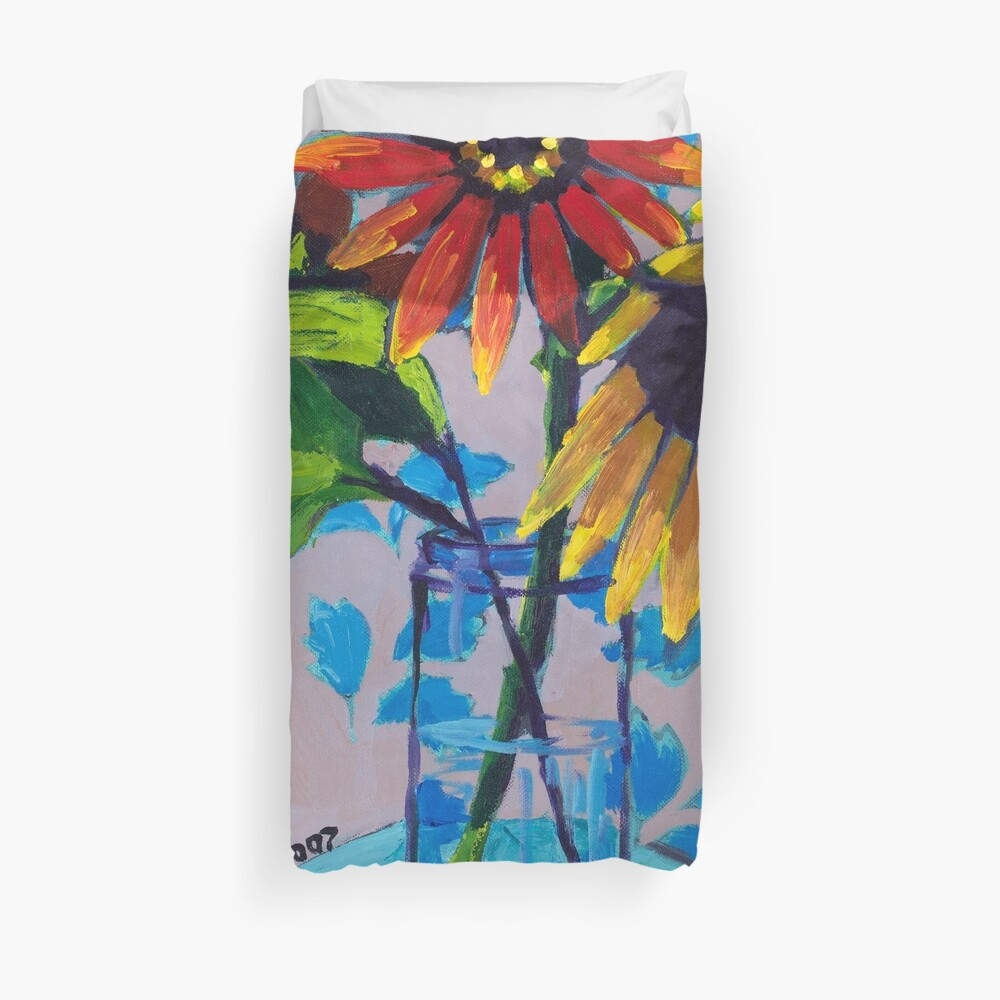 Sunflower with Purple and Blue Duvet Cover