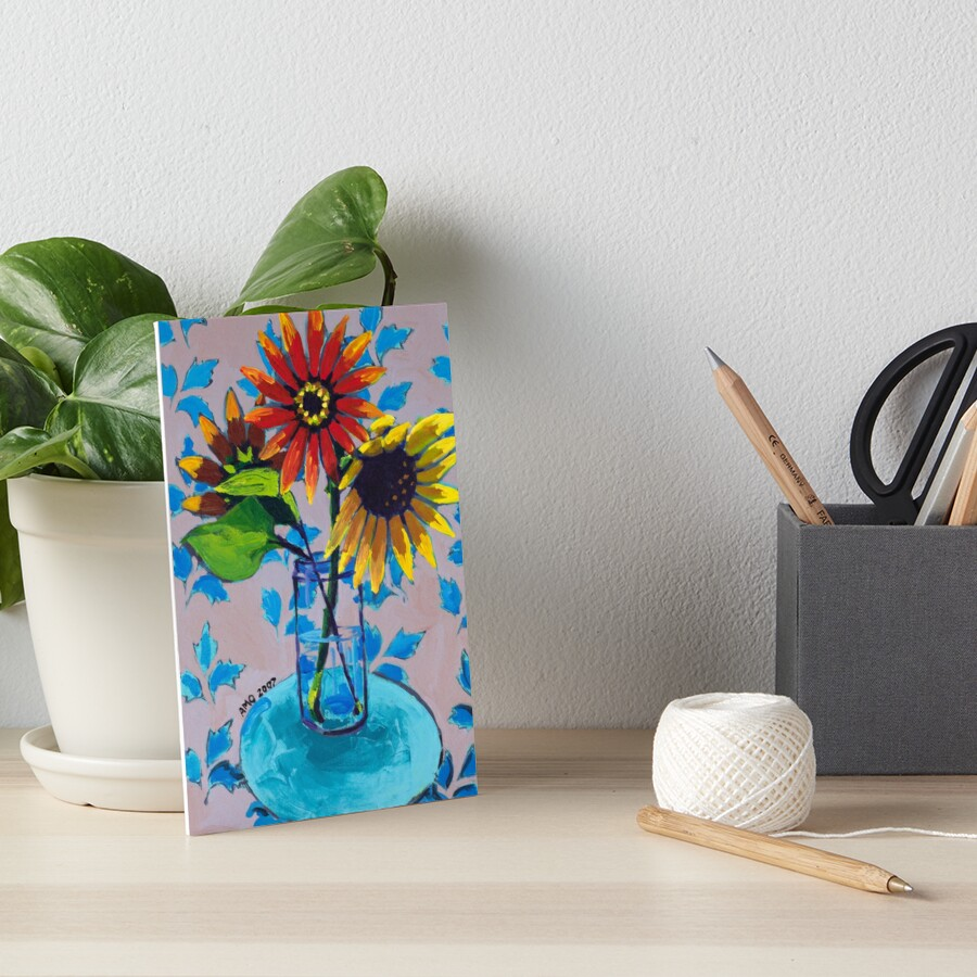 Sunflower with Purple and Blue Art Board Print