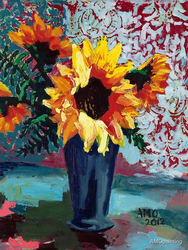 Sunflower with Aqua by AMOpainting