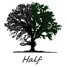Half green tree design with title by Eli Lang