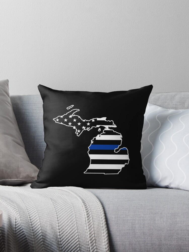 Groovy Thin Blue Line Michigan State Police Throw Pillow By Printedkicks Andrewgaddart Wooden Chair Designs For Living Room Andrewgaddartcom