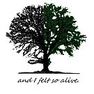 Half green tree with quote by Eli Lang