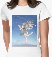 Ballerina Winter Fairy Dancing in the Snow Women's Fitted T-Shirt