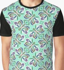 Field of Aqua Turquoise Butterflies , Purple Wings Patterns in Geometric Formation with Flowers Graphic T-Shirt