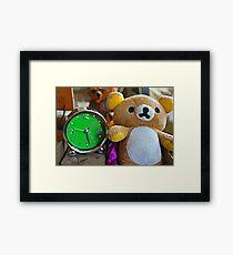 Cute Green Clock Time with Brown Teddy Bear. Animal, Cartoon, Art, Child, Fun. Framed Print