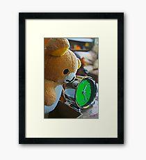 Cute Green Clock Time with Brown Teddy Bear #3. Animal, Cartoon, Art, Child, Fun. Framed Print