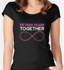 Celebrating the 15th Wedding Anniversary Together T-Shirt Women's Fitted Scoop T-Shirt