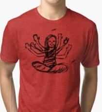 Hindu Jesus Scribble Doodle Tri-blend T-Shirt