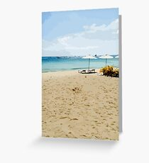 Beautiful and Colorful Beach Resort Sand Ocean Palm Trees Summer Vacation #2 Greeting Card