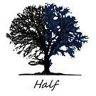 Half blue and black tree design by Eli Lang