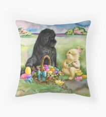 Easter bunny, Newfie and chicks Throw Pillow