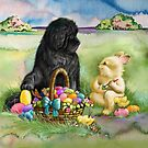Easter bunny, Newfie and chicks by Patricia Reeder Eubank